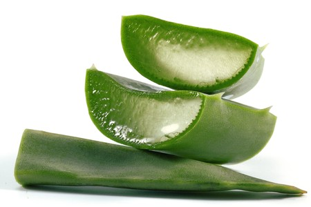 Slices of aloe vera plant on white background. Stock Photo