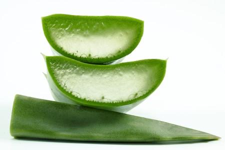 Slices of aloe vera plant on white background. 스톡 사진