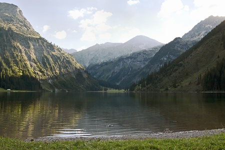 lake on the alps 스톡 사진