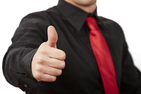 엄지 손가락 최대 비즈니스 사람 손. 가지 배경에 고립.
