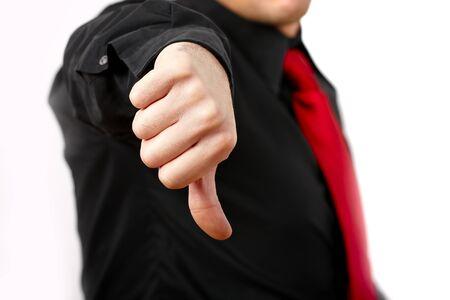불행 비즈니스 사람 (남자) 기호 아래로 엄지 손가락.