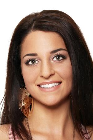 웃는 꽤 젊은 woman.Photo의 초상화 촬영 :, 2011 년 8 월. 스톡 사진
