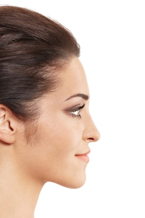 Profile view of female model face.  Stock Photo