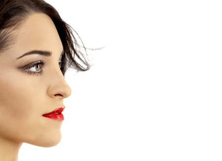 Profile view of female model face. Photo taken on: August, 2011 Stock Photo