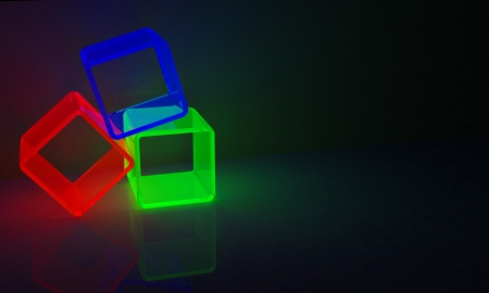 3 cubes in red, green and blue Stock Photo - 17561053