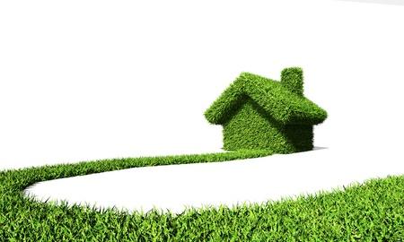 invernadero: Camino a la casa verde, aislado en blanco