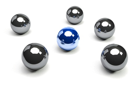 6 spheres with a unique blue sphere Stock Photo