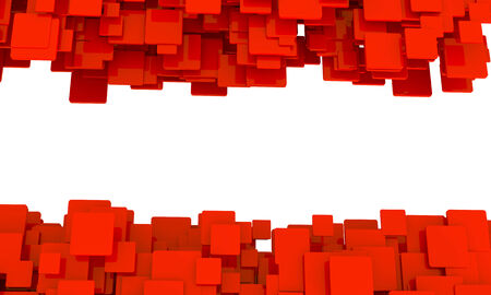 Border of 3d red cubes isolated on white in different sizes in a scattered layers and a random pattern with perspective and a blank central copyspace