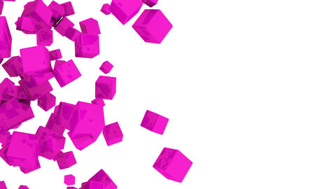 Abstract background of 3d magenta cubes in different sizes tumbling across a white background with copyspace