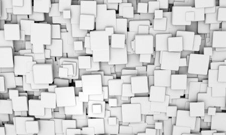 Abstract geometric background pattern of white 3d cubes in different sizes in different orientations for a futuristic backdrop