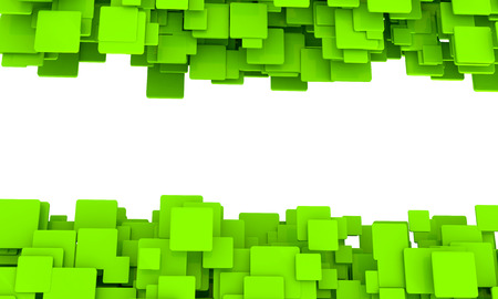 Banner with borders of random 3d green cubes in different sizes in layers with perspective and a central blank white copspace