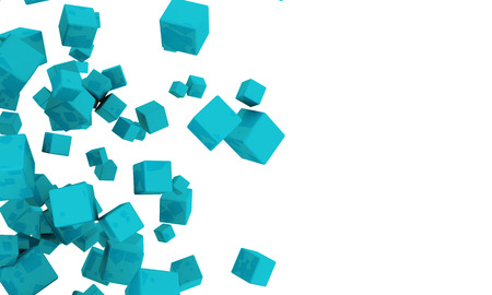 jumble: Abstract background of scattered 3d turquoise or cyan cubes tumbling across a white background with copyspace
