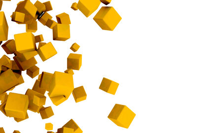 Abstract background of 3d yellow or golden cubes in different sizes tumbling across a white background with copyspace in a random pattern