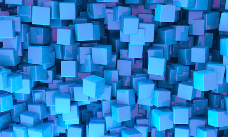 jumble: Abstract background of 3d blue cubes of different sizes in random orientations giving a scattered pattern