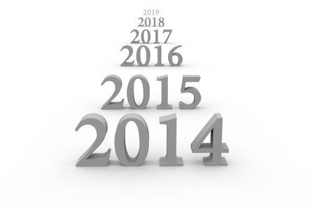 새로운 2014 년에 3D 텍스트에 격리 된 화이트