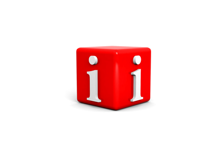3d Information cube on white background  스톡 사진