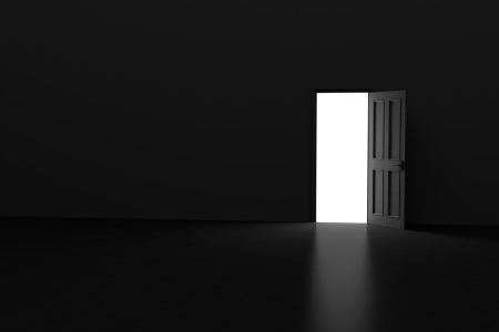 3D Dark Room With Open Door Stock Photo Picture And Royalty Free