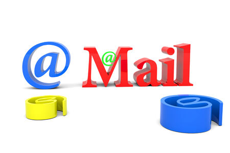 webmail: 3D Mail text on white