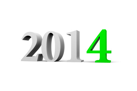 3D Text on New Year 2014 on white