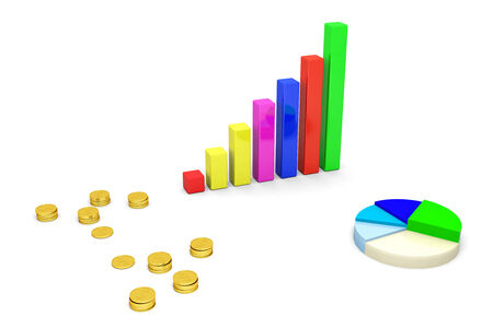 Financial graph bars and money on white  Stock Photo