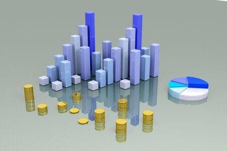 Financial graph bars und money