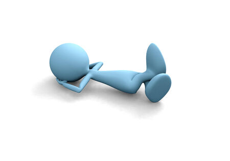 3D guy relax isolated over white