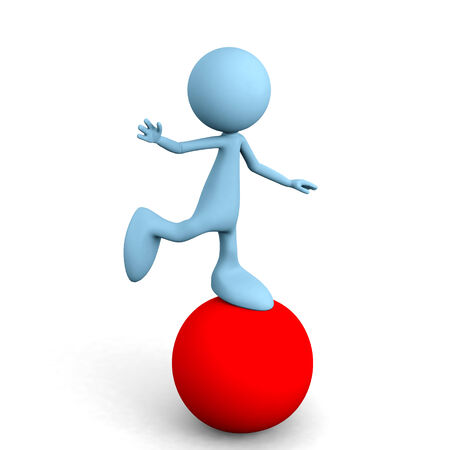 3D guy balance on a red Ball