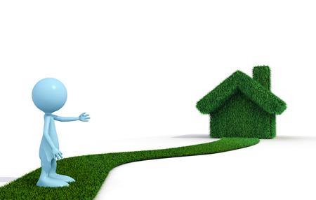 3D guy show a green grass house