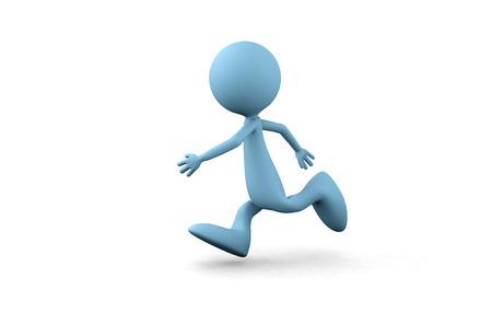 3D guy running on white