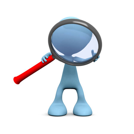 3D guy with a magnifier on white   photo