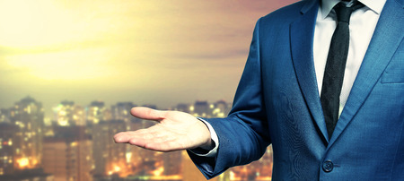 Businessman with open hand concept.