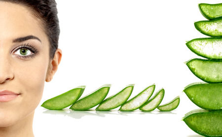 Beautiful Woman with Aloe Vera. Stock Photo