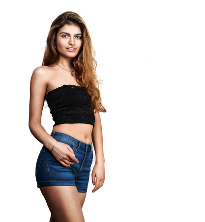 Sexy woman in blue jeans shorts Stock Photo