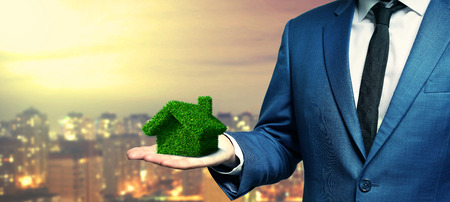 Businessman holding a 3D green house
