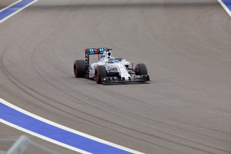 formule: Sochi, Russia - October 11, 2015: Felipe Massa of Williams Martini Racing F1 team racing at the race of Formula One Russian Grand Prix at Sochi Autodrom.