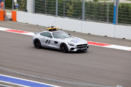 formule: Sochi, Russia - October 11, 2015: The Safety car on the track of Formula One Russian Grand Prix at Sochi Autodrom. Race day Editorial