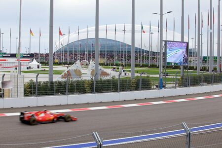formule: Sochi, Russia - October 11, 2015: Sebastian Vettel of Scuderia Ferrari F1 team racing at the race of Formula One Russian Grand Prix at Sochi Autodrom.