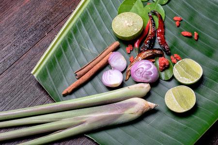 variability: Asian seasoning on banan leaf and wood. Stock Photo