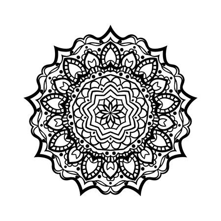 Flower Mandala. Vintage decorative elements. Oriental pattern,   illustration. Islam, Arabic, Indian, moroccan,spain, turkish, pakistan, chinese, mystic, ottoman motifs. Coloring book page