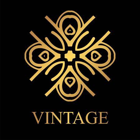 Vintage golden template. Vector element, retro label, badge illustration.