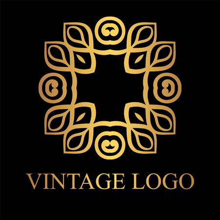 vintage golden logo template vector logotype element retro