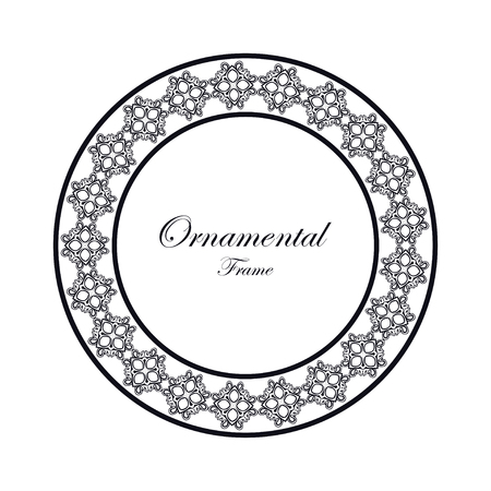 Vintage ornamental round frame. Template with ornate pattern for design of greeting card, wedding invitation, birthday
