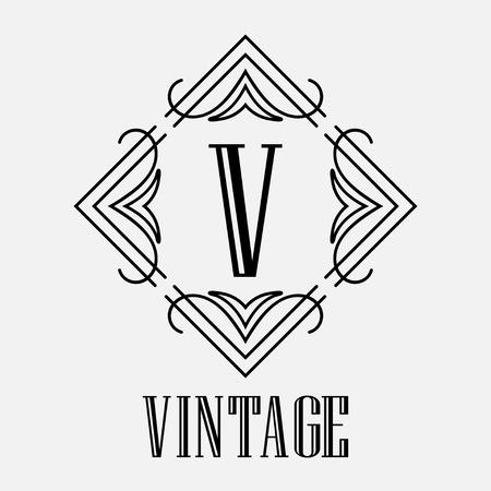 Vintage Ornamental Logo Monogram. Retro Luxury Frame For Design ...