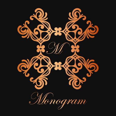 Vintage ornamental logo monogram. Retro luxury frame for design with swirl elements and place for letter or text Çizim