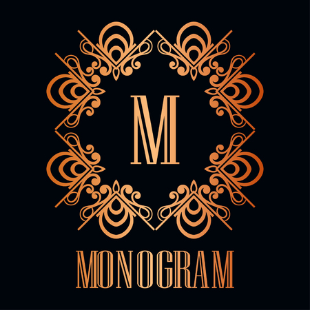 Vintage ornamental logo monogram. Retro luxury frame for design with swirl elements and place for letter or text Ilustração