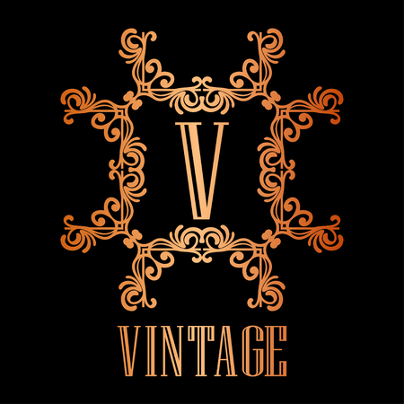 Vintage ornamental logo monogram. Retro luxury frame for design with swirl elements and place for letter or text Stock Illustratie