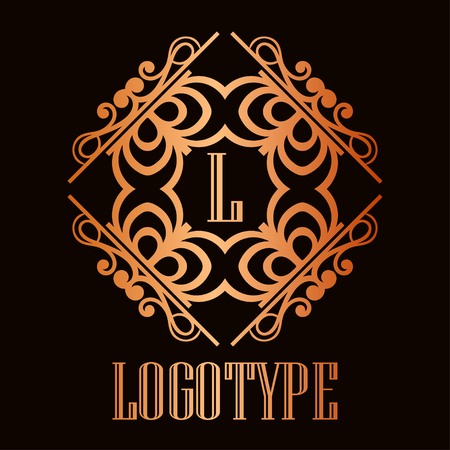 Vintage ornamental logo monogram. Retro luxury frame for design with swirl elements and place for letter or text  イラスト・ベクター素材