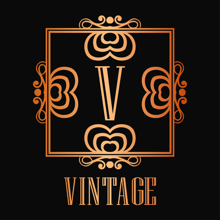 Vintage ornamental logo monogram. Retro luxury frame for design with swirl elements and place for letter or text Illustration