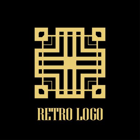art deco vintage badge logo design vector illustration