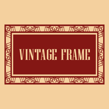 Vintage retro invitation in Art Deco style. Art deco border and frame. Creative template in style of 1920s. Vector illustration. EPS 10